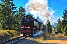 Steam Locomotive On The Way To The Blocksberg (Brocken)