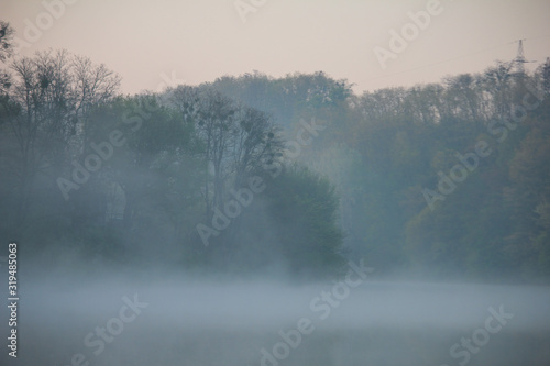 Obraz Sunrise on a foggy morning at Swamp - fototapety do salonu