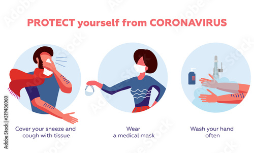 Coronavirus 2019-nCoV disease prevention infographic with illustration and text, healtcare and medicine concept Fototapet