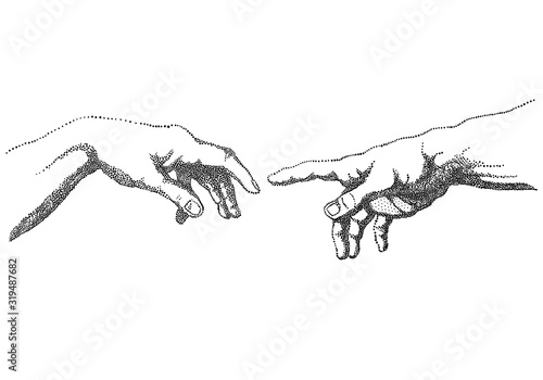 The Creation of Adam, vector hands Fotobehang