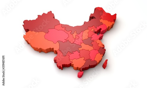 Map of China showing regional province areas. 3D Rendering Wallpaper Mural