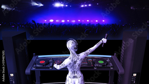 DJ android, disc jockey robot with microphone playing music on turntables, cybor Canvas Print
