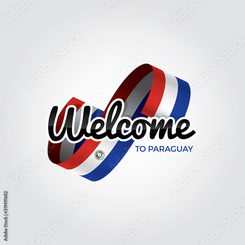 Welcome to paraguay symbol with flag, simple modern logo on white background, ve Wallpaper Mural