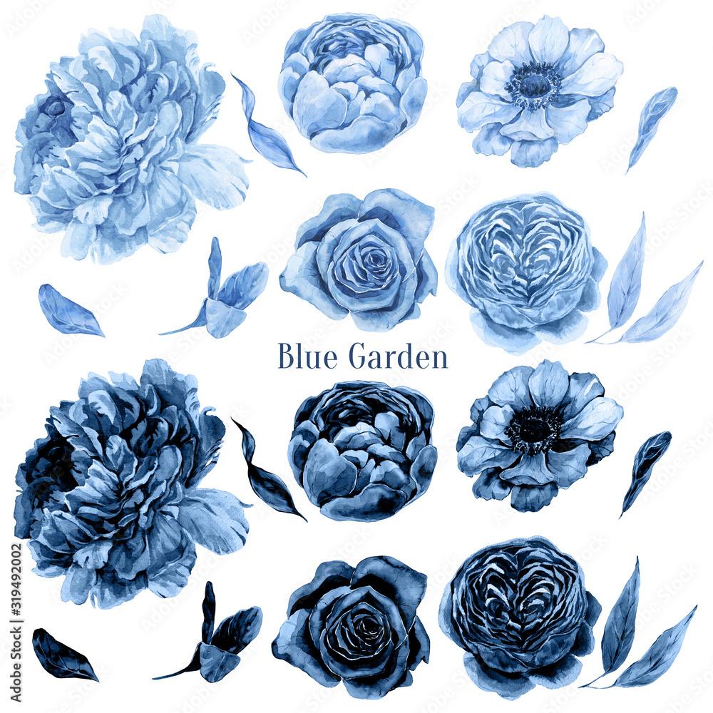 С Klasyczny niebieski kwiatowy zestaw akwareli. Czeskie kwiaty. Ręcznie malowane jasny i ciemny niebieski piwonia kwiat, róża, zawilec, liście izolowane na białym tle. Indigo Print, projekt zaproszenia na ślub