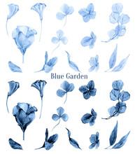 Сlassic Blue Floral Watercolo...