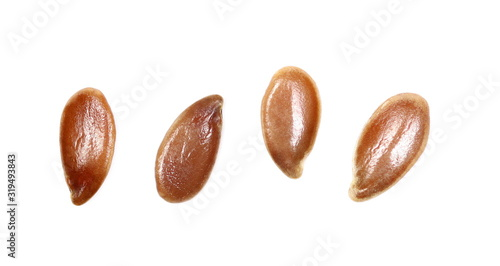 Set flax seeds isolated on white background, top view, macro linseed Canvas Print