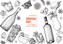 Alcoholic Cocktails Hand Drawn...