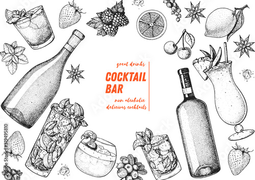 Obraz Alcoholic cocktails hand drawn vector illustration. Cocktails sketch set. Engraved style. Alcoholic drinks in glasses and bottles. - fototapety do salonu