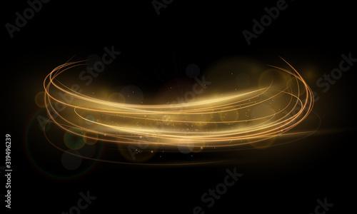 Fototapeta golden abstract transparent light circle effect backgroun, abstract glowing rings obraz na płótnie