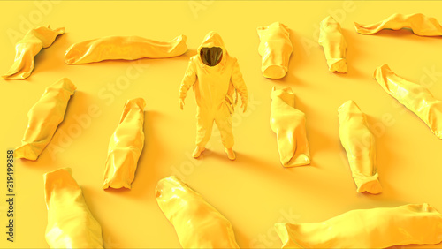 Photo Yellow Corona Virus Hazmat NBC Suit with Body Bags Cadaver Pouch Human Remains 3