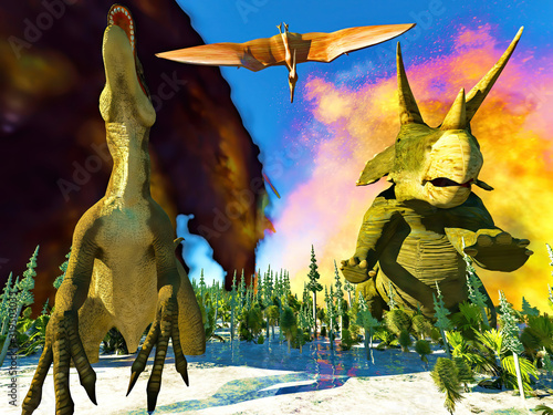 Carta da parati Dinosaur doomsday coming on 3d rendering