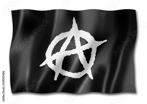 Photo Anarchy flag isolated on white