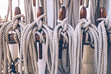 Ship Ropes Tied To The Mast Be...