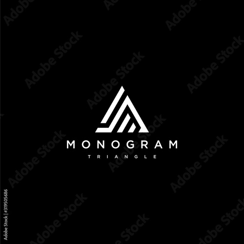 Bold logo design of A and Triangle with dark background - EPS10 - Vector Wallpaper Mural