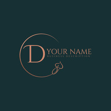 D Initial Letters Of Round Flower Elegant Badge Logo Template
