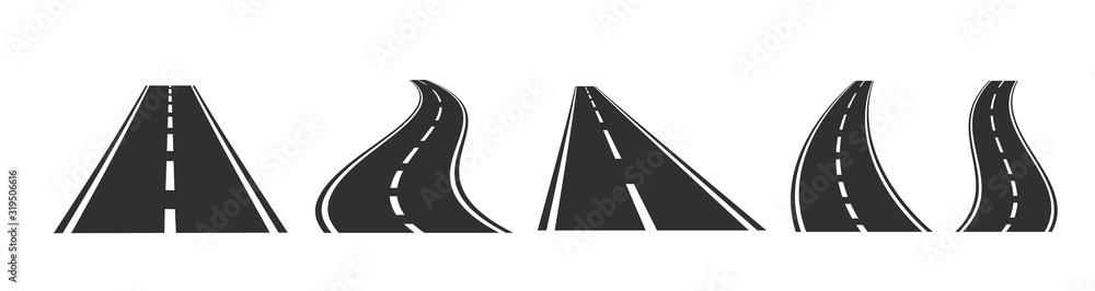 Fototapeta Asphalt road set on white background. Vector illustration.
