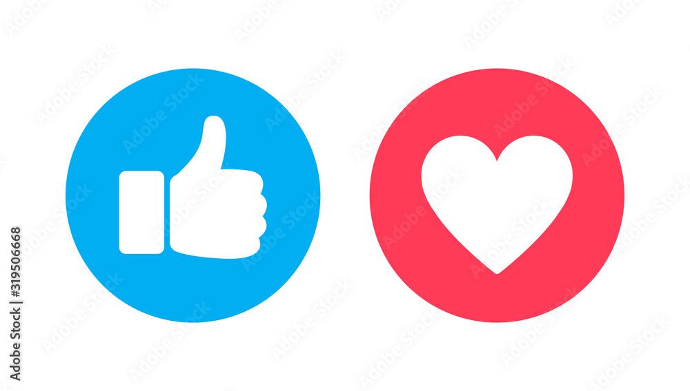 Fototapeta Thumbs up and heart, social media vector icon