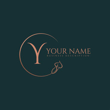 Y Initial Letters Of Round Flower Elegant Badge Logo Template