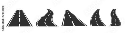 Obraz Asphalt road set on white background. Vector illustration. - fototapety do salonu