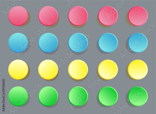 Valokuvatapetti Fun twister game pattern colored circles on grey