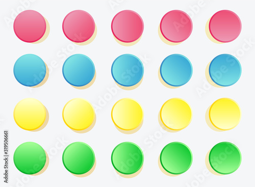 Fun twister game pattern colored circles on white Canvas-taulu