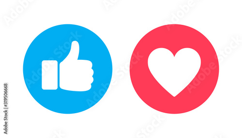 Photo Thumbs up and heart, social media vector icon