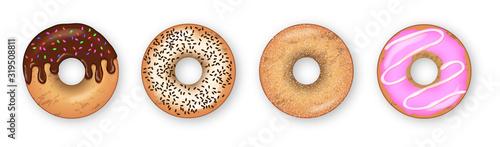 Fotografia, Obraz Donut vector set isolated on a white background