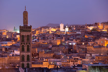 Looking Out Over The Old City Of Fes El-Bali At Night In Fes, Morocco.