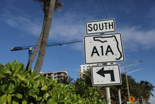 South A1A Florida Sign With Palm Trees