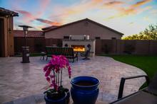 Outdoor Fireplace On A Desert ...