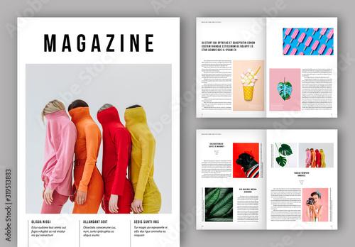 Fototapeta Magazine Layout with Bold Text Elements obraz