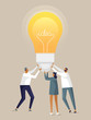 Vector illustration with business concept in flat design style. Men and woman come up with an idea. A team of young business people are holding a lamp. Teamwork, start up and problem solving