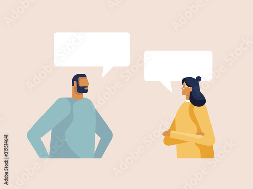 Foto Young man and woman chatting with speech bubbles