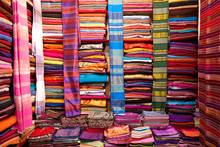 A Colorful Wall Of Fabric At A Fabric Shop In Fes El-Bali, Fes, Morocco.