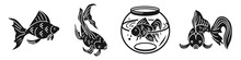Goldfish Icons Set. Simple Set...