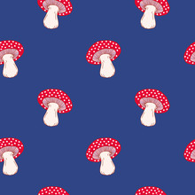 Seamless Pattern With Fly Agaric, Amanita Hallucinogenic Mushrooms On Blue Background. Fun Vector Wallpaper.