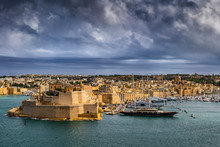 Malta, Birgu, Fort St. Angelo And Vittoriosa Yacht Marina In Grand Harbor