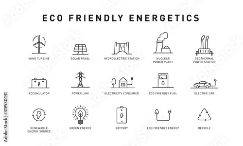 Canvas Print Set of green energy thin line icons