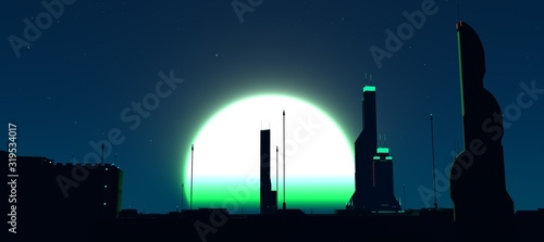 Fényképezés Futuristic city against huge glowing moon