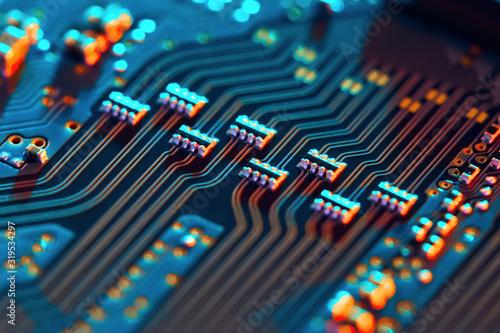 Vászonkép Electronic circuit board close up.