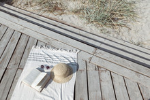 Boho Eco Styled Beach Essentials On Sand By Sea