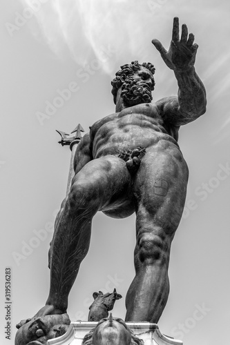 Statue of Neptune on the fountain in Bologna, Italy Canvas Print