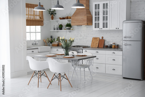 Beautiful kitchen interior with new stylish furniture Poster Mural XXL
