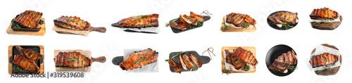 Fototapeta Set of delicious roasted ribs on white background. Banner design obraz