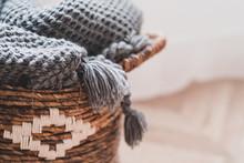 Wicker Basket With Warm Woolen...