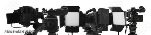 Obraz Collage with modern professional equipment on white background. Video production - fototapety do salonu