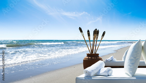 Canvas Print Alicate Beach in Marbella, Malaga, Spain