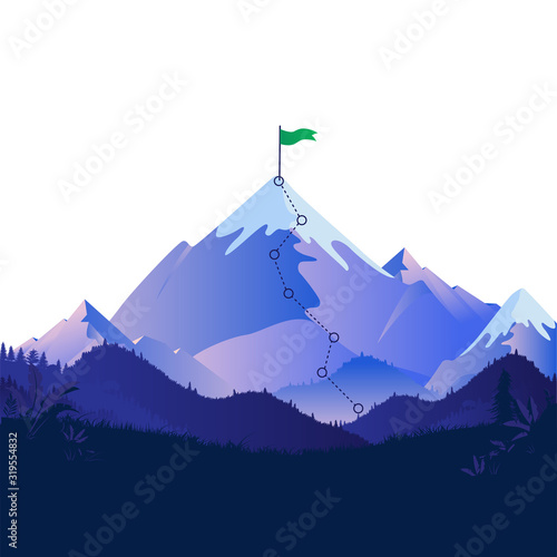 Fototapety, obrazy: Summit with green flag. View of a majestic mountain with trail leading to the top with a flagpole. Metaphor for the patch to success. Motivation, overcome challenge, reach your goal concept. Vector.