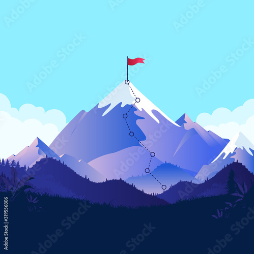 Fototapety, obrazy: Path to success. Majestic mountain with a difficult trail leading to a red flag on top. Overcome challenge, hard work lead to success, motivational concept. Vector illustration.