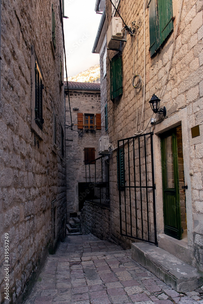 Narrow street in the old town of Kotor, Montenegro